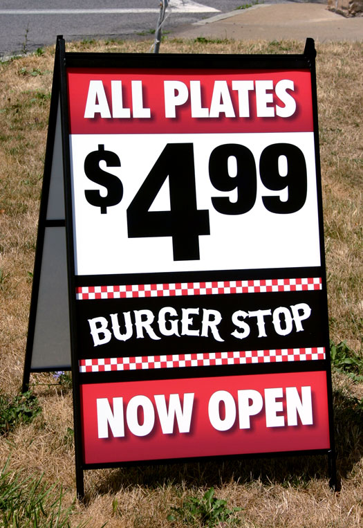 Burger Stop Restaurant A-Frame Sign