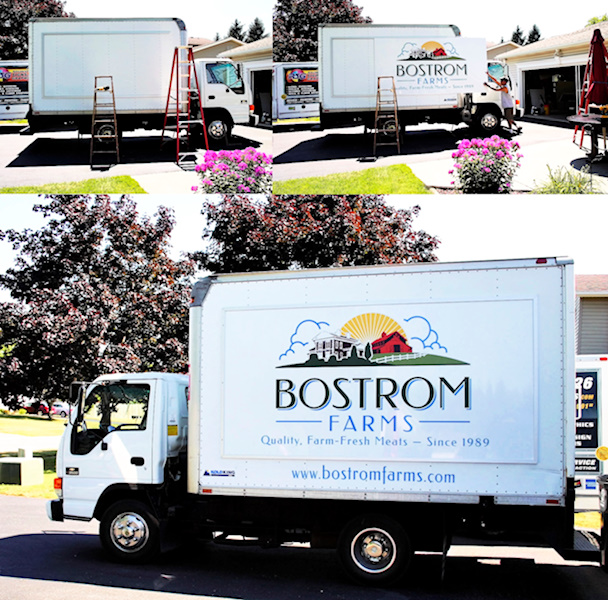 Bostrom Farms Box Truck Using Our Changeable Sign System