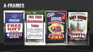 A-frame signs and sandwich boards