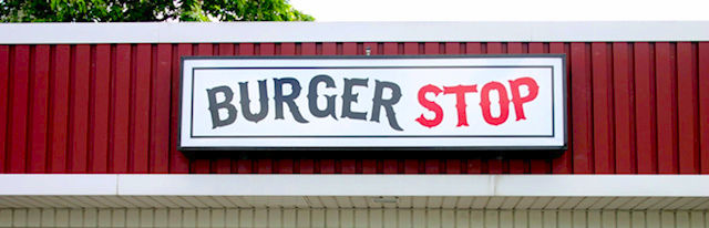 Burger Stop Cabinet Sign Illuminated