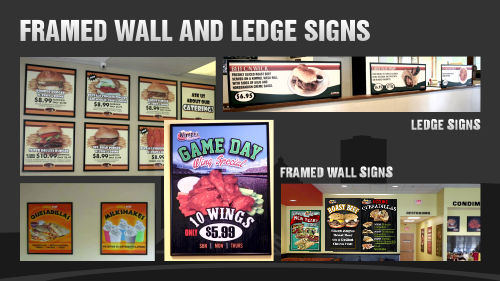 Framed wall  signs, hanging signs and ledge signs