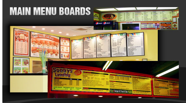 Main Menu Board Signs